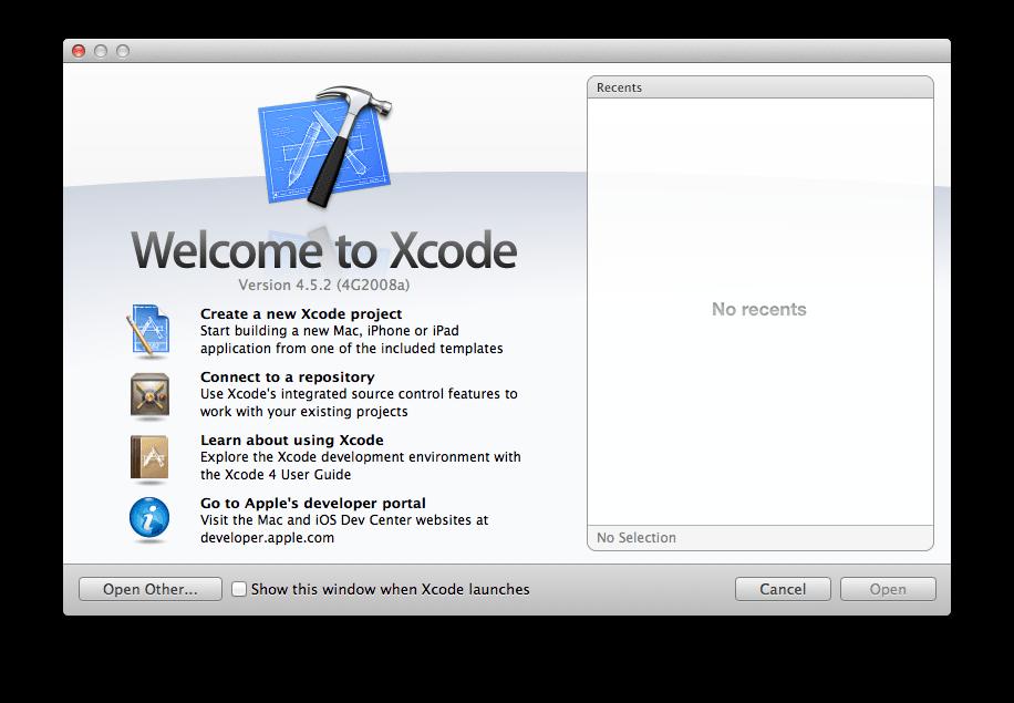 Xcode Welcomeダイアログ