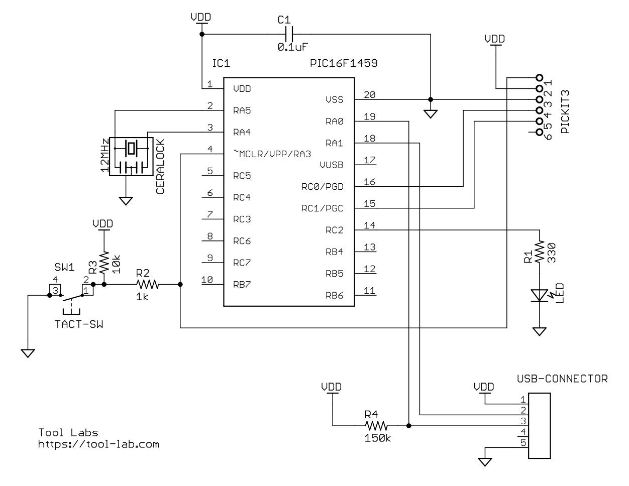 PIC16F1459テスト回路