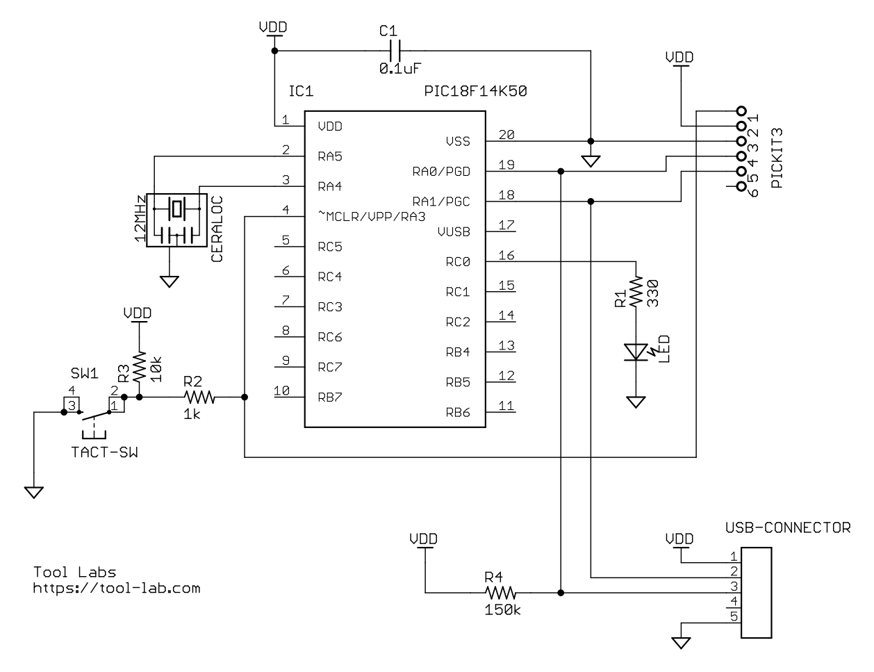 PIC18F14K50テスト回路