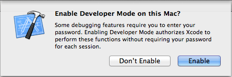 Developer mode enable