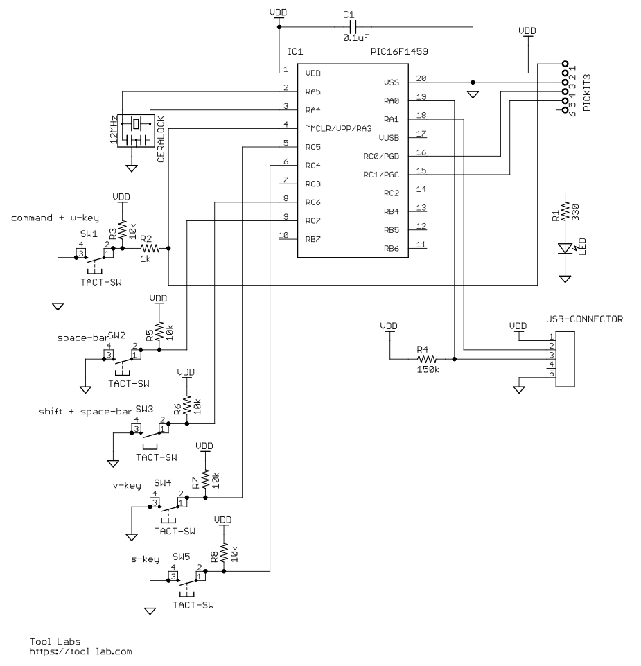 Foot keyboard 5 switches schematic