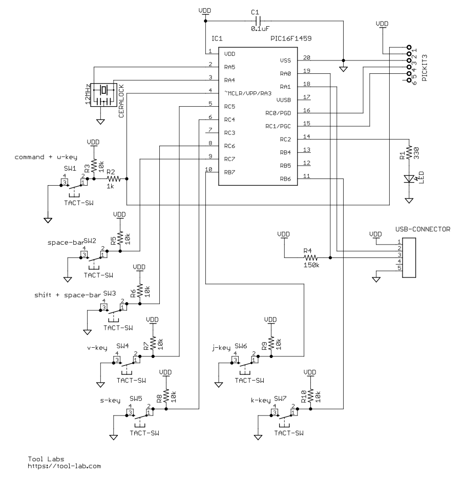 Foot keyboard schematic v100
