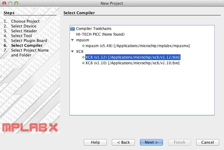 Mplabx select compiler