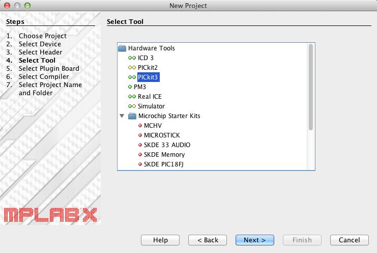 Mplabx select tool