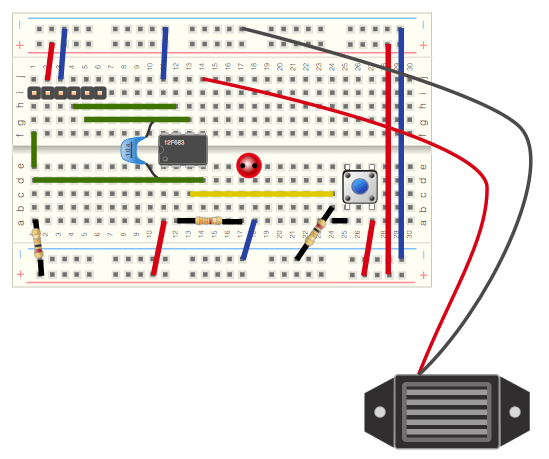 Pic with buzz breadboard