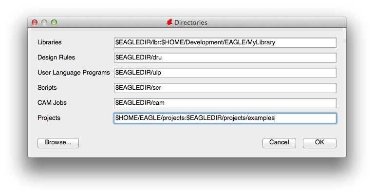 Eagle project folder setting