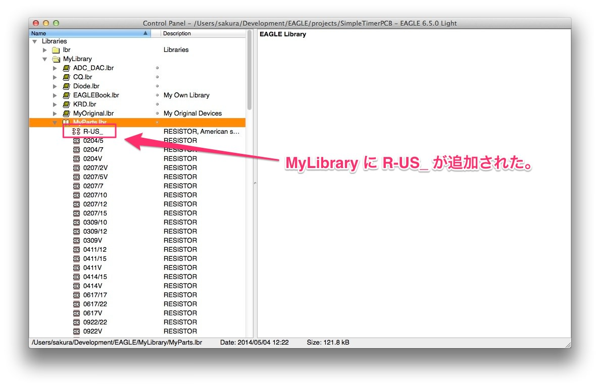 Eagle resistor added mylibrary