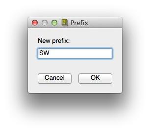 Prefix dialog