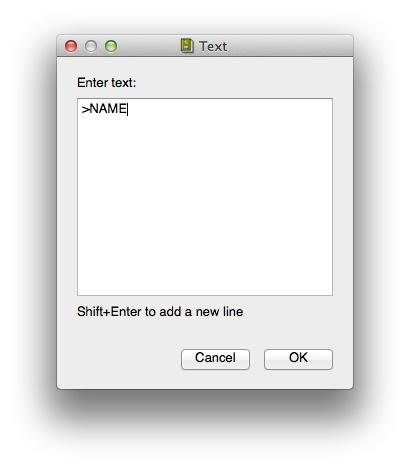 Symbol name dialog