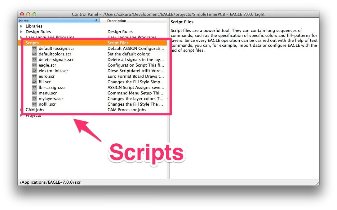 Control panel script