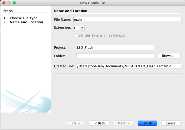 Main c file creation mac