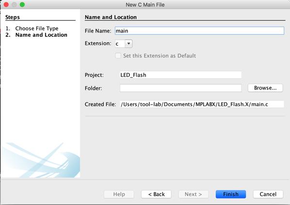 Main c file creation mac