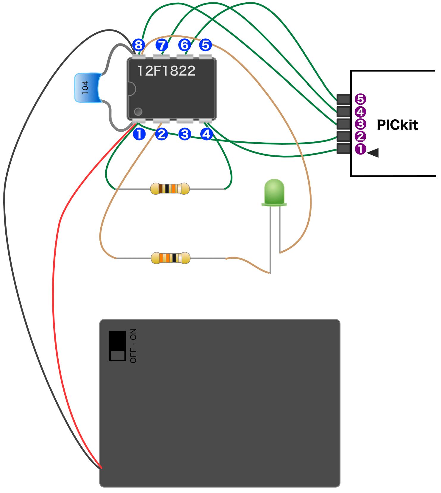 PICマイコン回路実体配線図