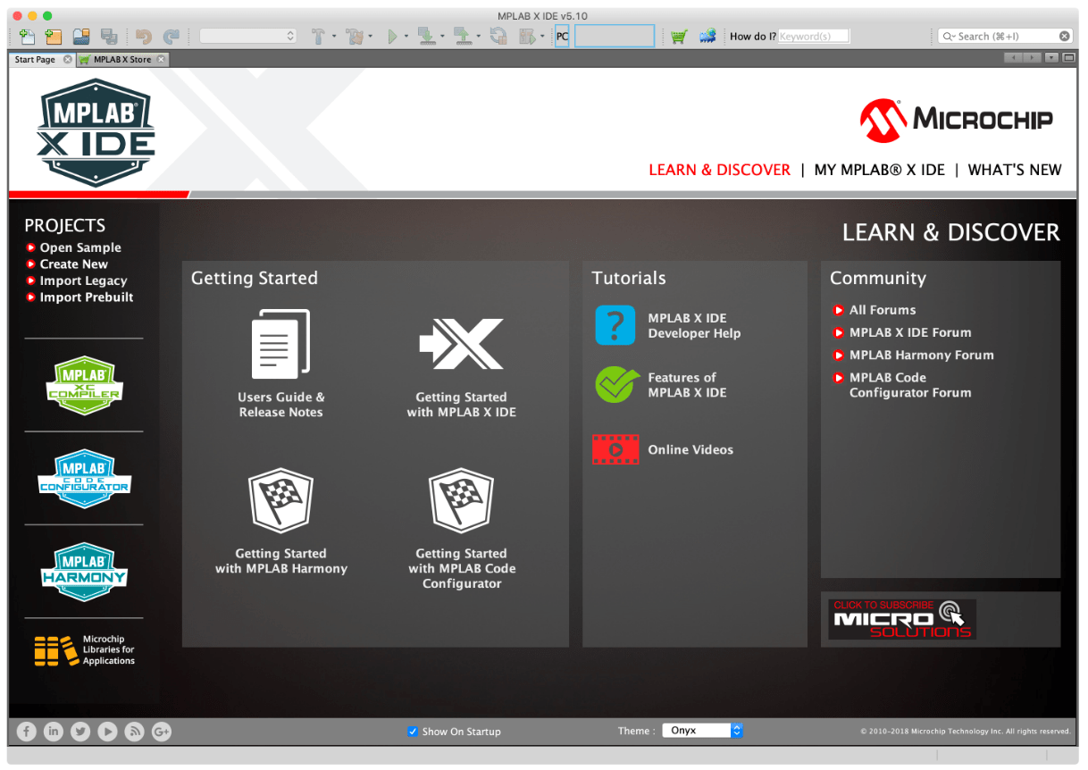 MPLABX IDEスタート画面