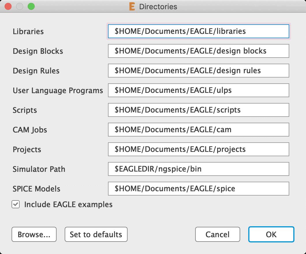 Autodesk EAGLEディレクトリ設定ダイアログ