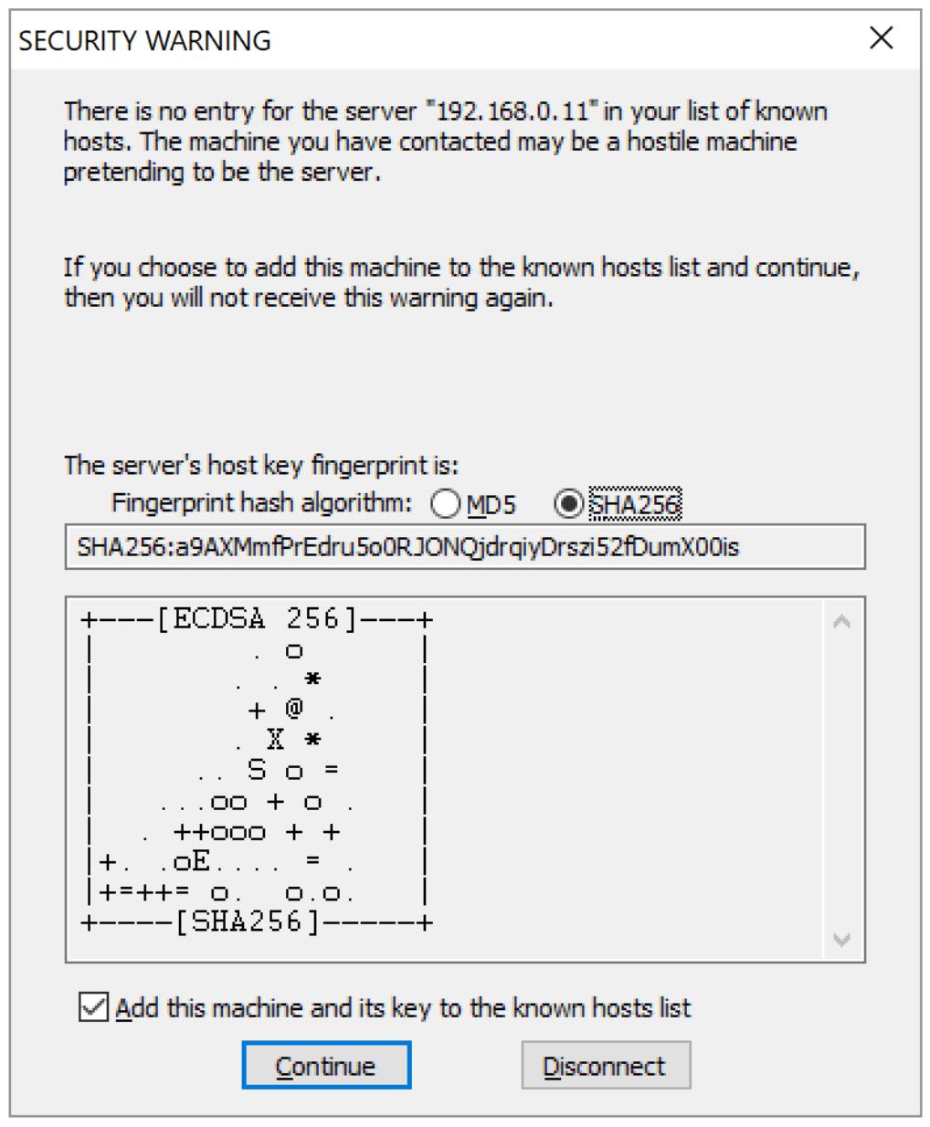 TeraTerm公開鍵確認