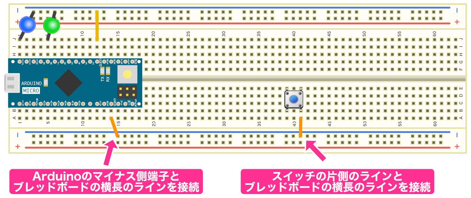 スイッチのマイナス側の接続