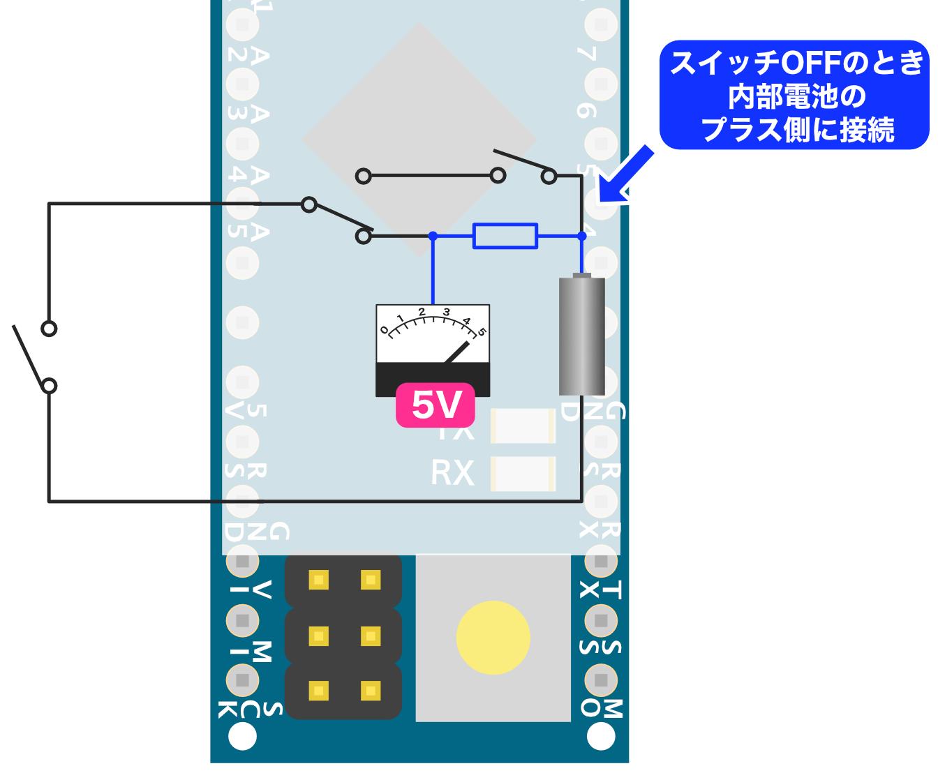Arduino内部プルアップ-スイッチOFF
