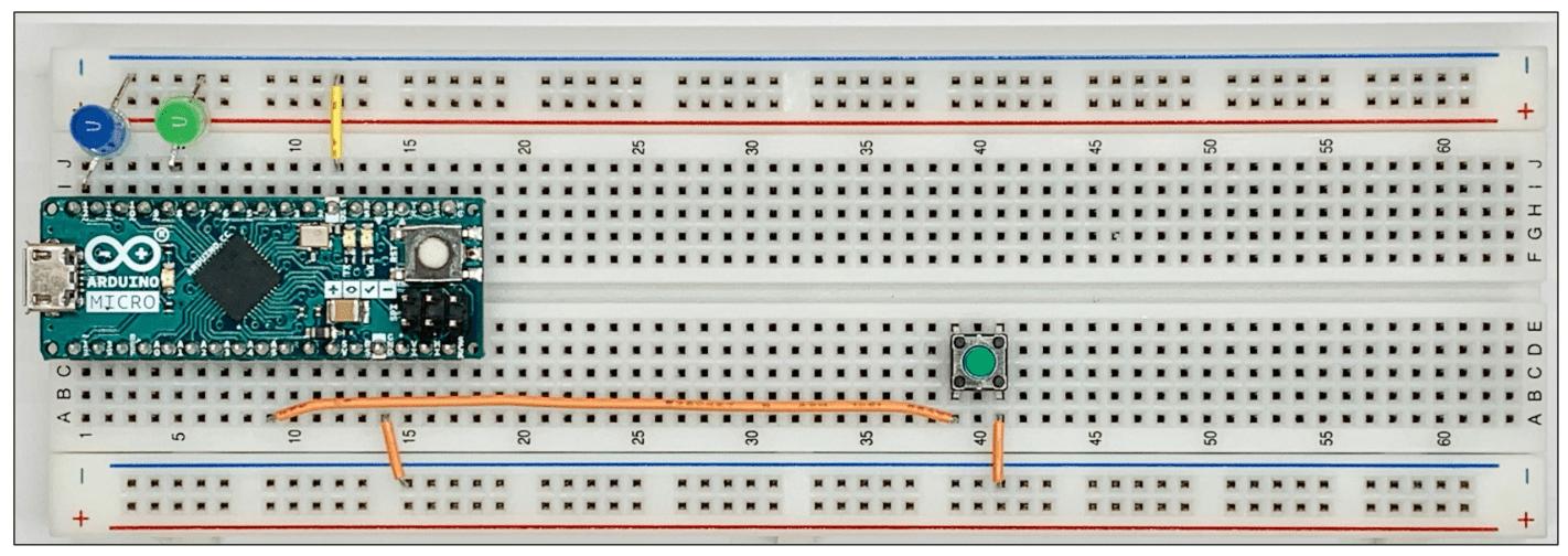 スイッチを追加したブレッドボード