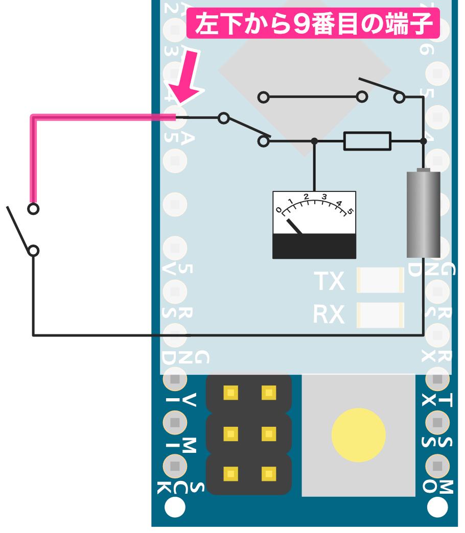 スイッチと23番端子の接続
