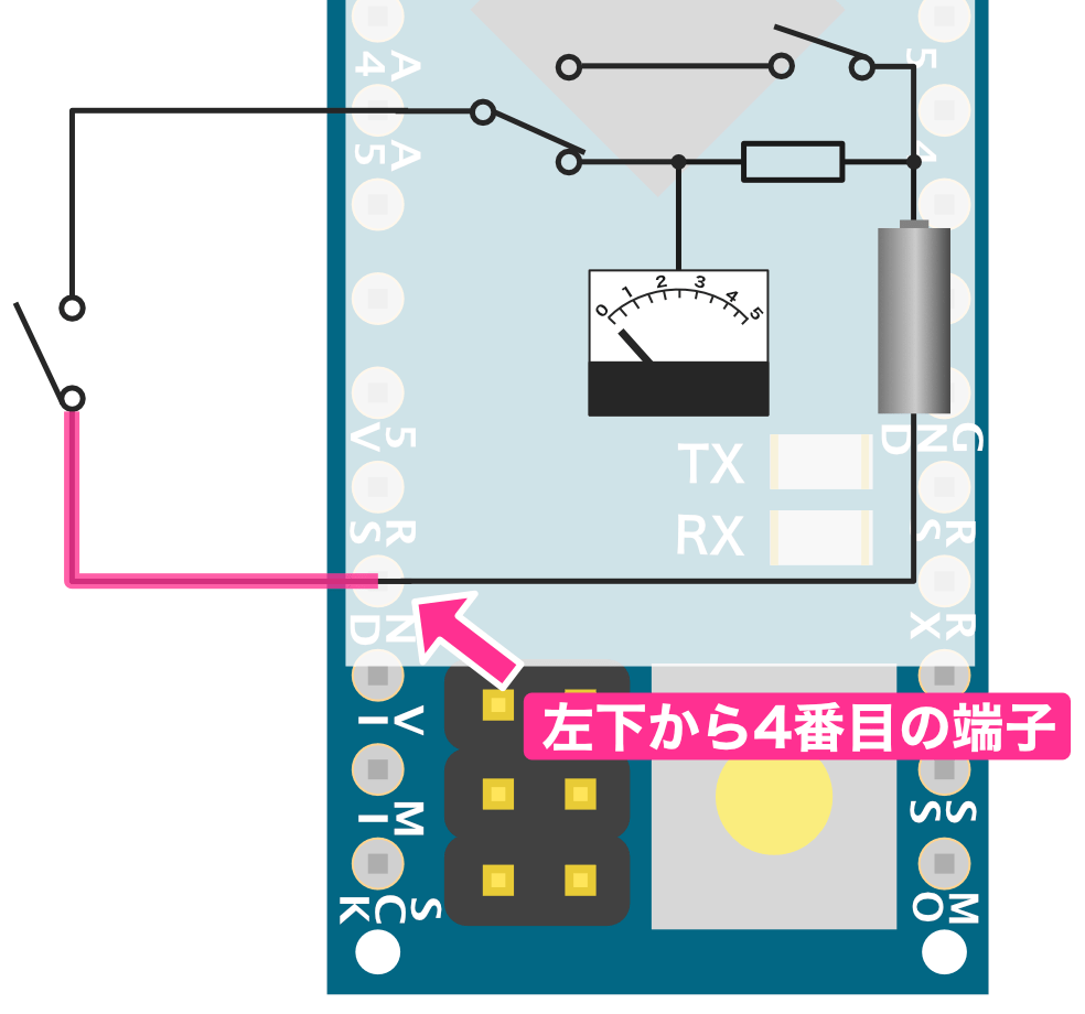 スイッチとマイナス側の接続